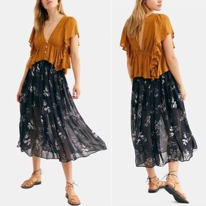 FREE PEOPLE LYDIA PRINTED MIDI SKIRT IN MIDNIGHT L